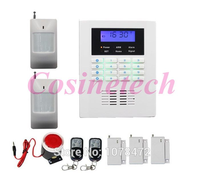 Cheap Smart auto-dial SMS quad 4band GSM PSTN alarm system,home security teleohone line alarm system with 101 defense zone alarm