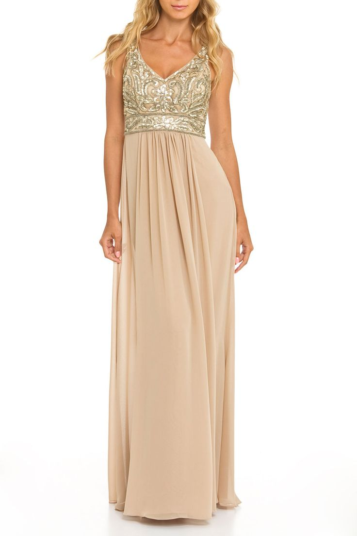 Sue Wong Waterfall Skirt Long Dress In Beige Beyond The Rack