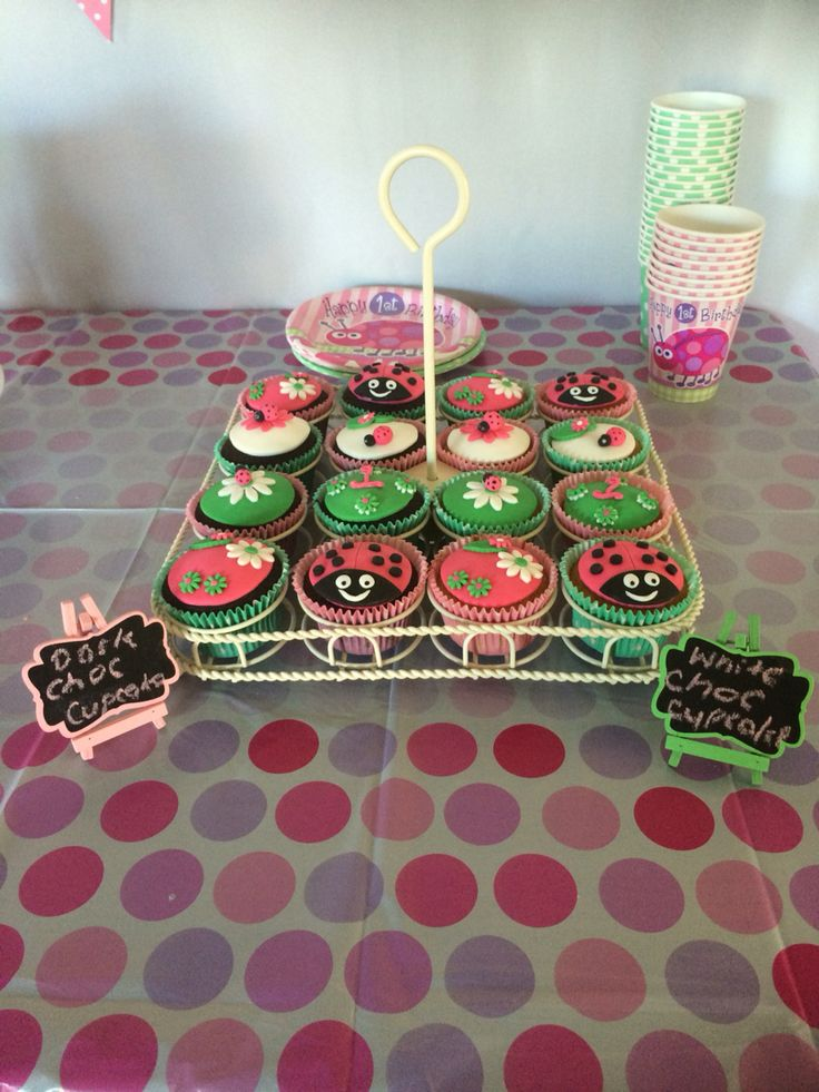 Cupcakes for my daughters 1st birthday ladybug theme