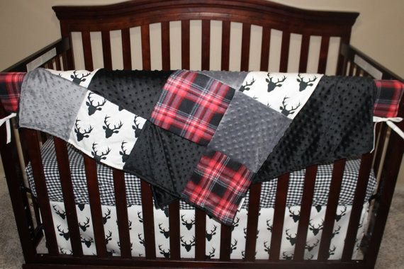 Black Buck Deer Lodge Red Black Plaid Ivory by DesignsbyChristyS