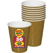 Gold Plastic Cups 16oz 50ct