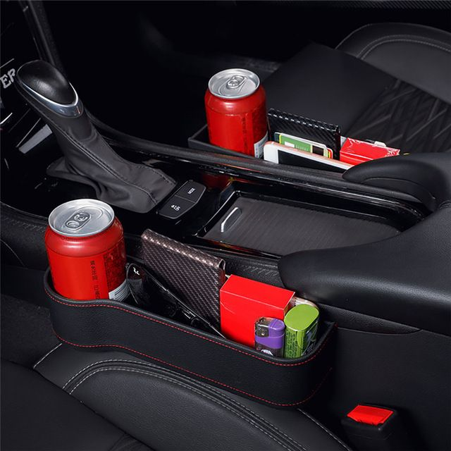 Car Seat Slit Gap Storage Box Pocket Organizer Coin Phone Cup Holder