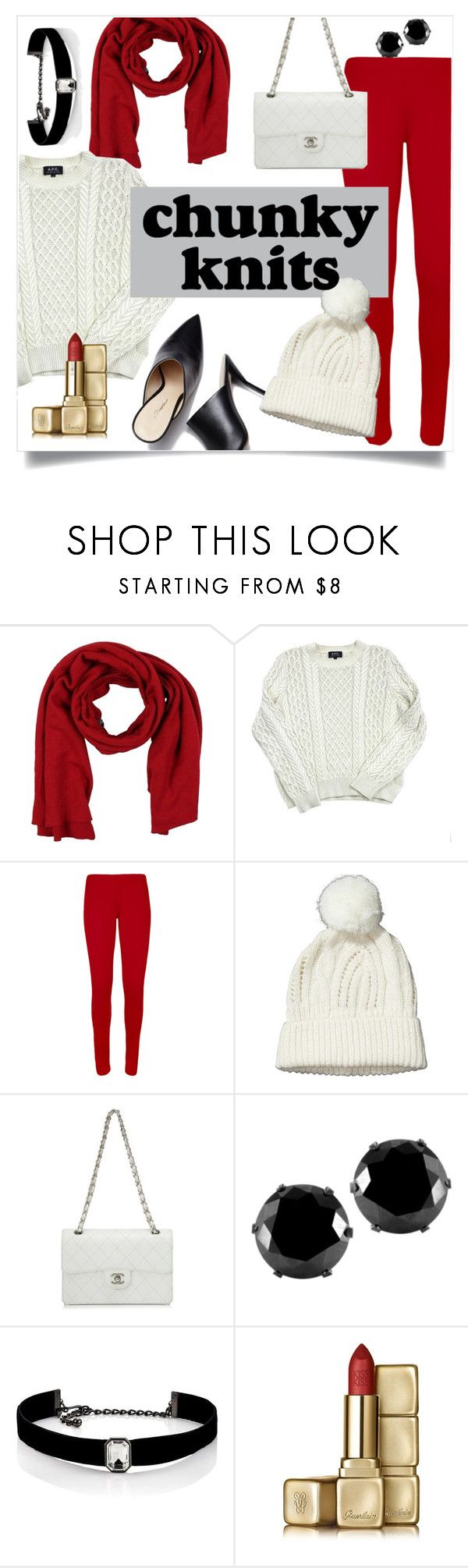"""""""Chunky Knits"""" by queen3264 ❤ liked on Polyvore featuring Ermanno Scervino, A.P.C., WearAll, Chanel, West Coast Jewelry, Kenneth Jay Lane, Guerlain, Jumpers, sweaters and knits"""