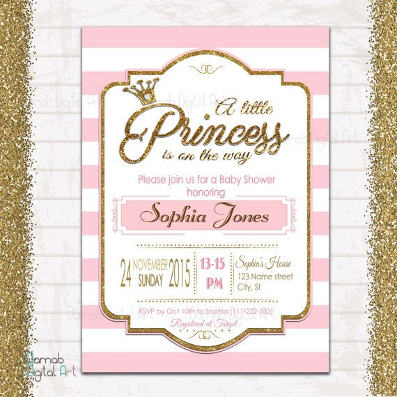 Princess Baby Shower invitation Pink Baby Shower by DamabDigital