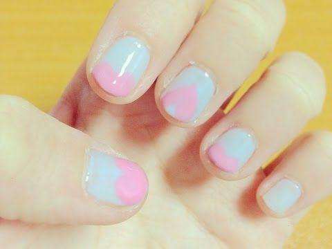 【シンプル】パステルカラーハートネイルにしてみた/Simple Pastel Heart  Nail - YouTube