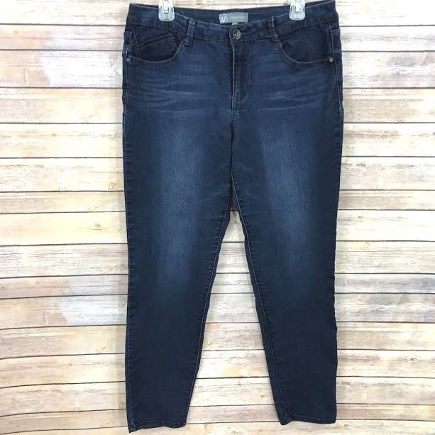 Wit & Wisdom Womens Skinny Ankle Jeans Size 12 Dark Wash