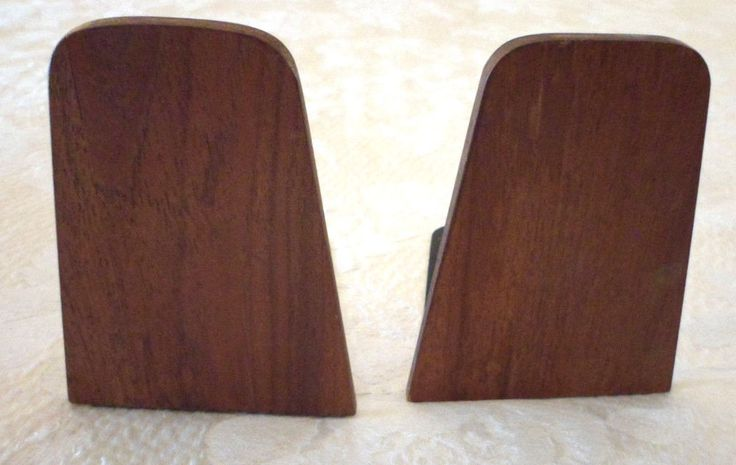 "Mid Century Modern Teak Wood MCM Bookends Vintage 5.5""x4""x5.5"" Retro Asian Chic"
