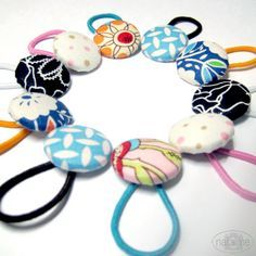 Love these w/ elastic for hairbands! DIY Fabric Covered Buttons from natalme