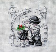 Schematic cross stitch Love Under Rain 1