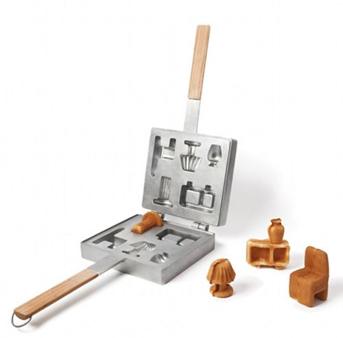 """furniture tasting"" waffle iron. *smiles* Completely edibel collection of dollhouse living furniture by Ryosuke Fukusada and Rui Pereira. Neat."