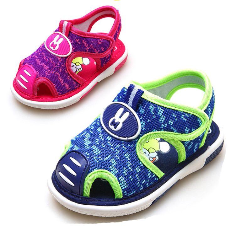 2017 Infant Baby Boy/Girl Summer Sound Shoes Unisex Mesh Sandals Children Closed Toe Cartoon Soft Breathable Orthopedic Sandals