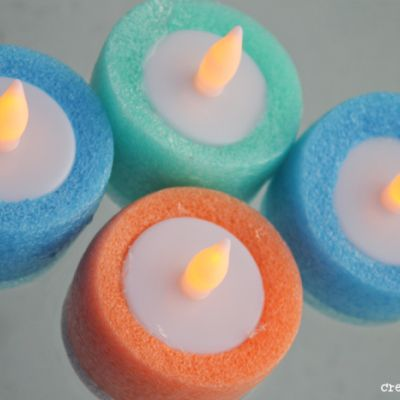 Pool Noodle Luminaries. Use battery operated tea lights and pool noodles. You can even float them on the water! Great ideas for that perfect pool party.