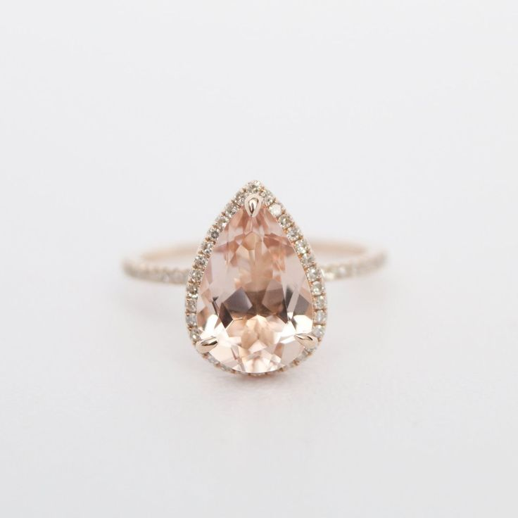 CLAIRE - Pear-shaped Morganite engagement ring - $1,120.00 - Olive Avenue Jewelry