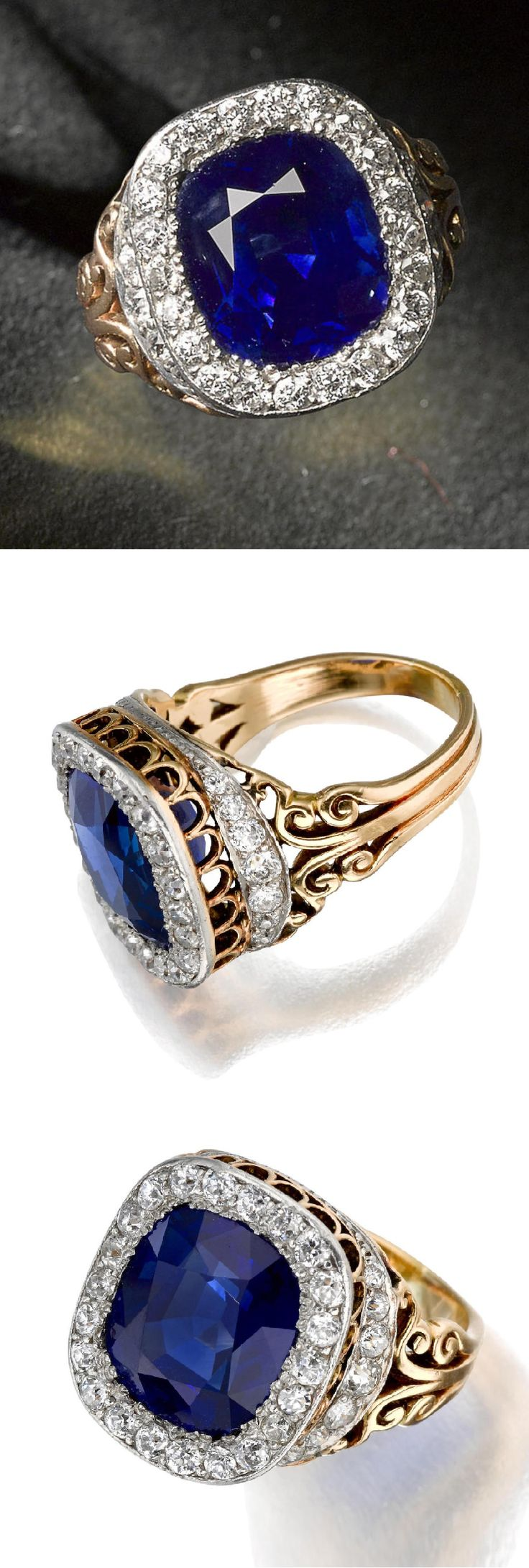 Shreve & Co. - An antique sapphire and diamond ring, circa 1900. Centring a cushion mixed-cut sapphire, weighing approximately 6.90 carats, within a raised gallery of old European-cut diamonds and scrolled metal work; signed; mounted in platinum and 18k gold. #Shreve #antique #ring