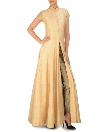 Cream Front Open Dress with Sequined Collar Diwali Delight