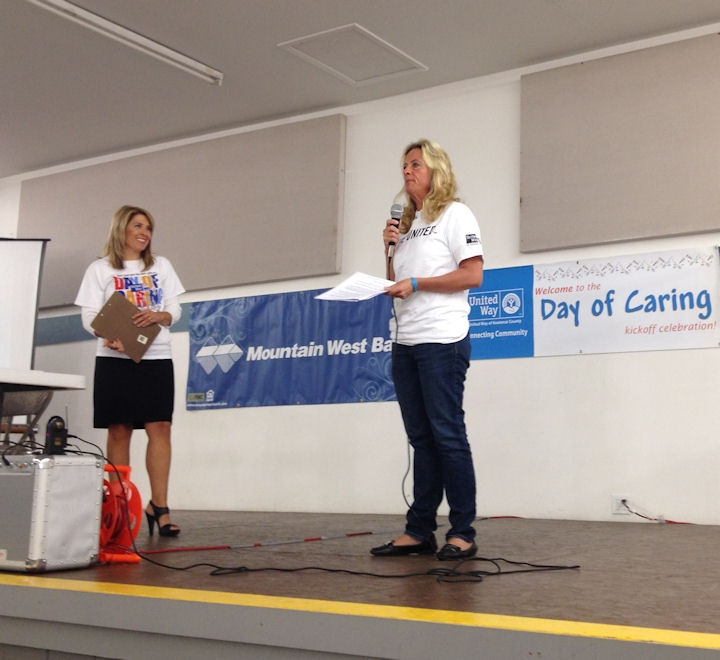 KXLY4's Kris Crocker & Eve Knutson of Knutson Chevrolet helping the United Way of Kootenai County kick-off their Day of Caring and Employee Giving Campaign.  The event took place at the Kootenai County Fairgrounds in Coeur d'Alene on Thursday, September 20th.