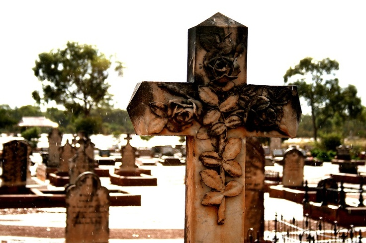 Old Grave during a sun shower - Cobar NSW