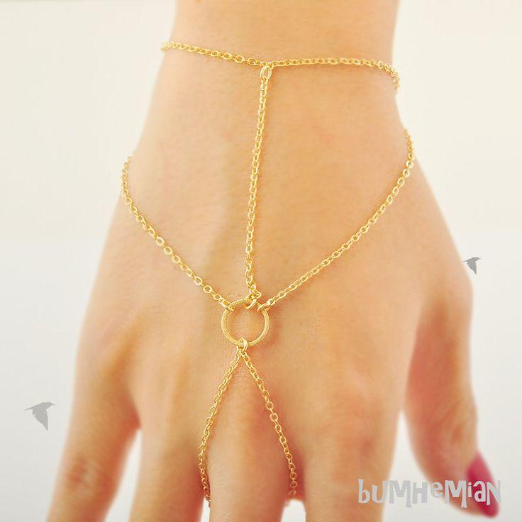 Slave Bracelet Simple Cable Chain With Round Link Center, Wrist and Finger Bracelet, Bracelet