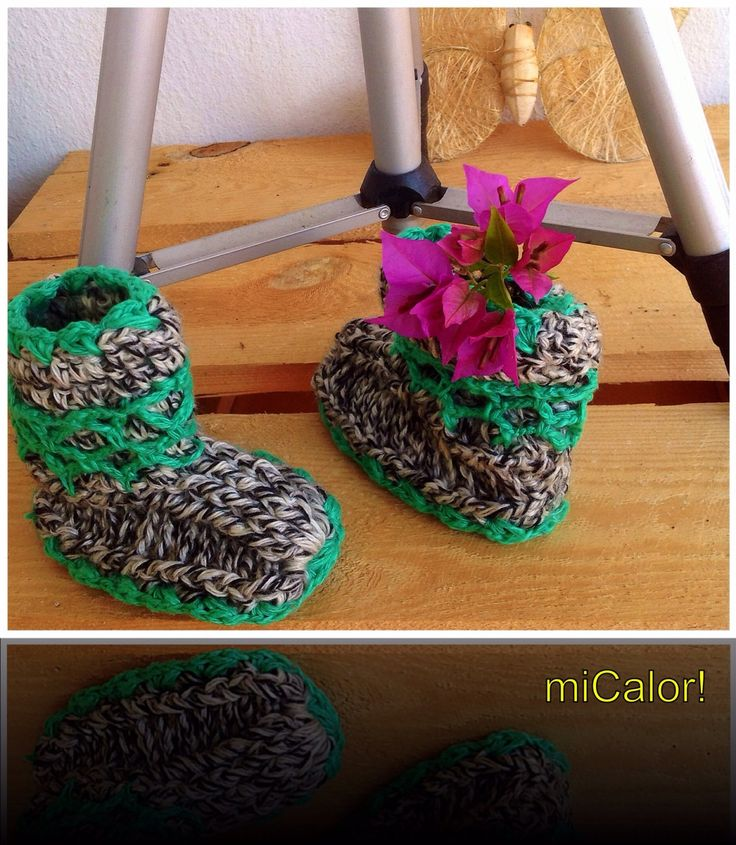 Crochet Baby Booties by miCalorKnits on Etsy