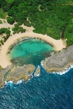 Mar Chiquita, or Little Sea, is a small beach in a protected cove near the eastern end of a long rocky wall exposed on the coast of Manatí in northern Puerto Rico, about 40 kilometers west of San Juan. #Travel #Beach