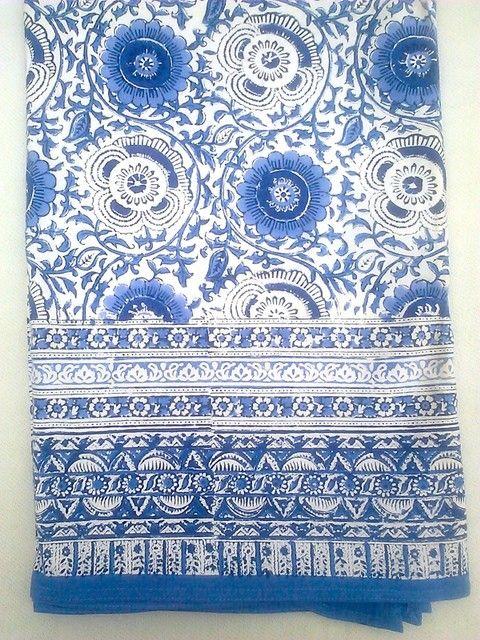 anokhi blue white masuli rose floral block print indian tablecloth rh pinterest com