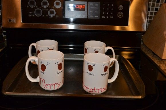 Shown is a Christmas mug, but flowers, shamrocks, butterflies, anything your creative soul can dream up will be wonderful! What parent, grandparent, aunt, godparent... wouldn't love this?!?!?  Once everything is on the cup, place on a cookie sheet in a preheated oven at 350 degrees for 30 minutes. Handwashing is recommended...