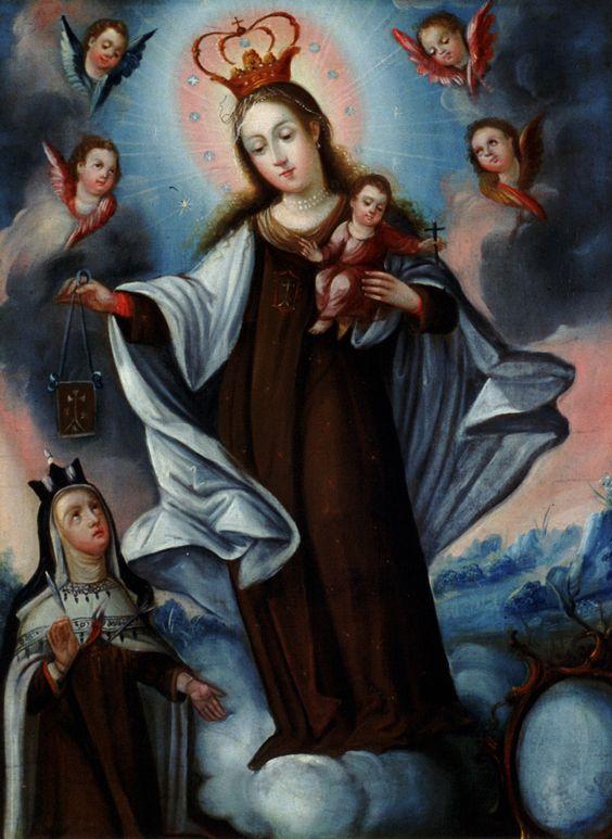 Artist unknown(Bolivian,19th century),Virgin del Carmen (The Virgin of Mt. Carmel presenting a scapular medal to St. Theresa of Avila),ca. 1800–1820 Joslyn Art Museum