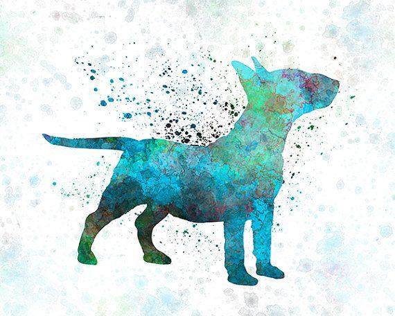 Miniature Bull Terrier in watercolor Fine Art Print por Paulrommer