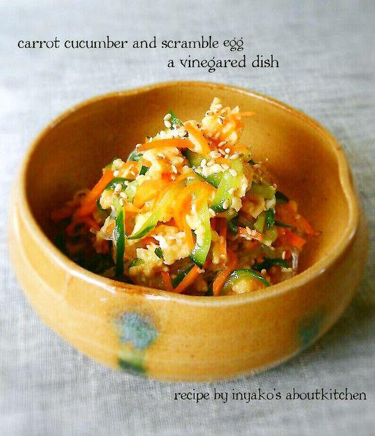 お弁当にもよさそう♪人参&キュウリ&卵の酢の物風サラダ☆ 酢の物の簡単おしゃれレシピ