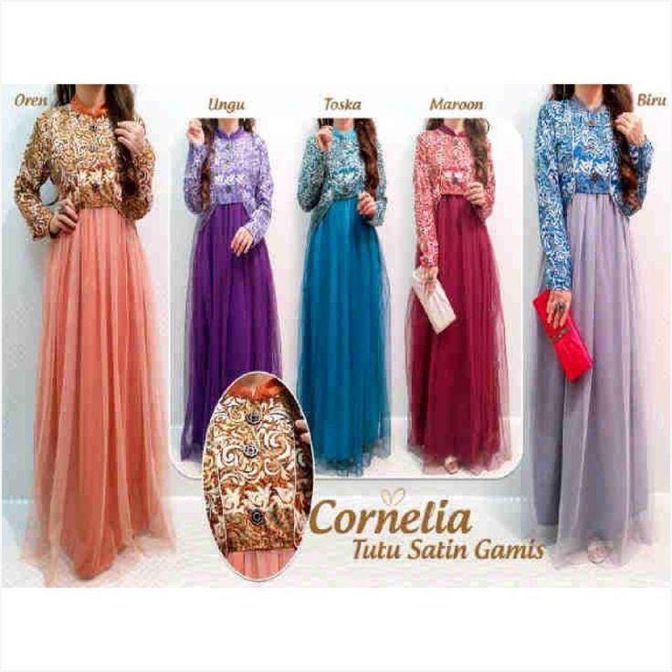Cornelia tutu satin gamis (atas silky dlm velvet) - GROSIR Ukuran : All size fit to XL  Tidak ecer, pembelian dalam SERI sesuai warna