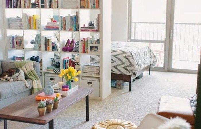 idee amenagement petit studio, moquette beige, terrasse dans le studio chic