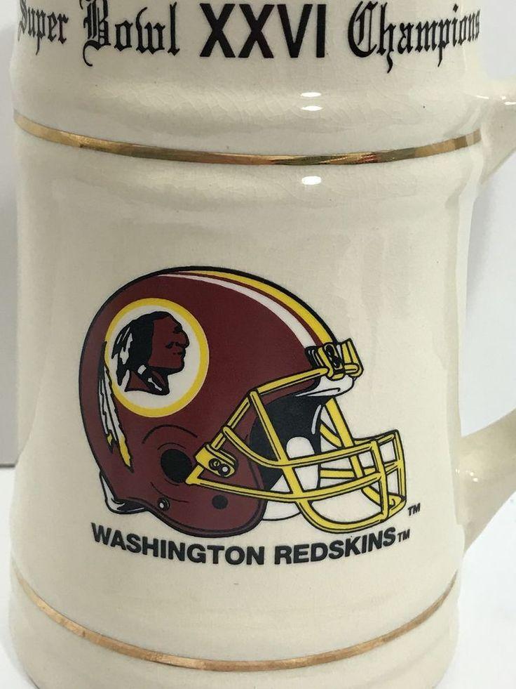 1992 Super Bowl XXVI Stein Mug Washington Redskins vs Buffalo Bills Gold Trim    eBay