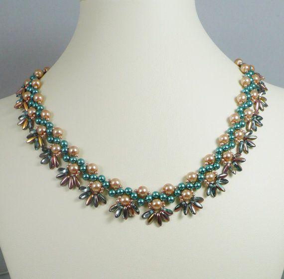 Tejido Cerceta de collar de perlas y oro con por IndulgedGirl