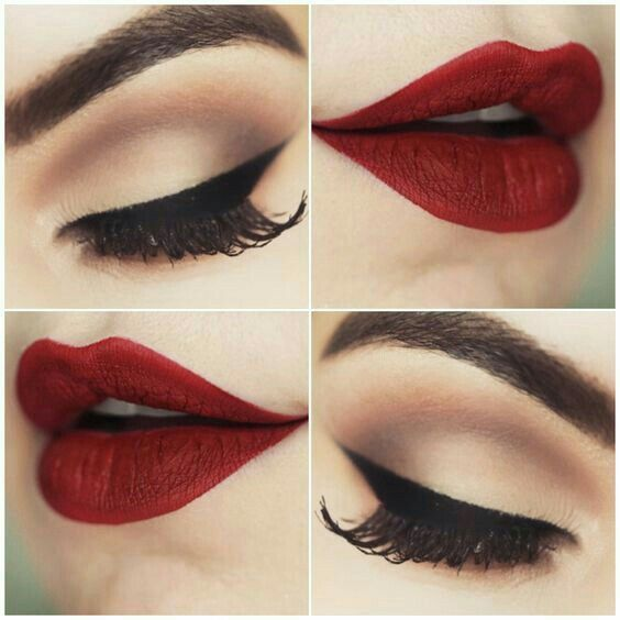 red lips and nude eye makeup