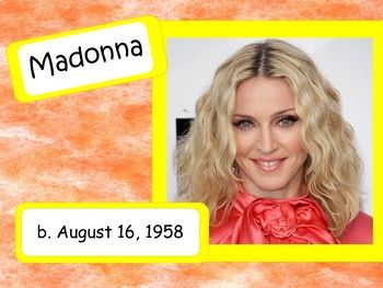 Here she is......MADONNA! Fashion setting, record breaking and always pushing the limits, this amazing musician with serious talent and staying power has been making music for over 40 years! Music history is FUN - especially if the musicians are those you can see on tv or