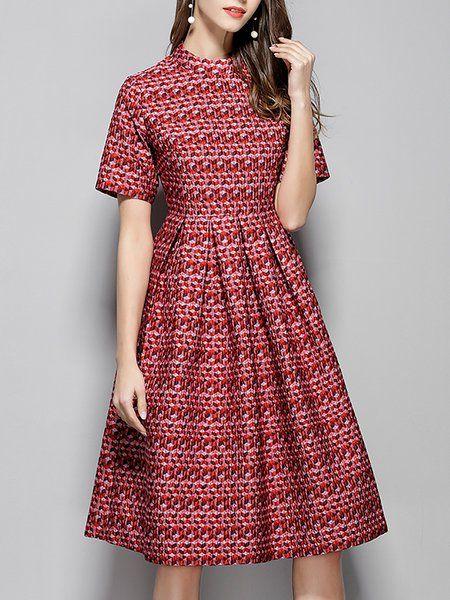 5d133a2a07 Shop Midi Dresses - Printed A-line Elegant Short Sleeve Midi Dress online.  Discover unique designers fashion at StyleWe.com.