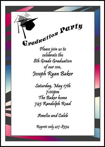 51 best party invitation cards images on pinterest invitation customize your unique popular and free 8th grade graduation cap party invitation for middle stopboris Choice Image