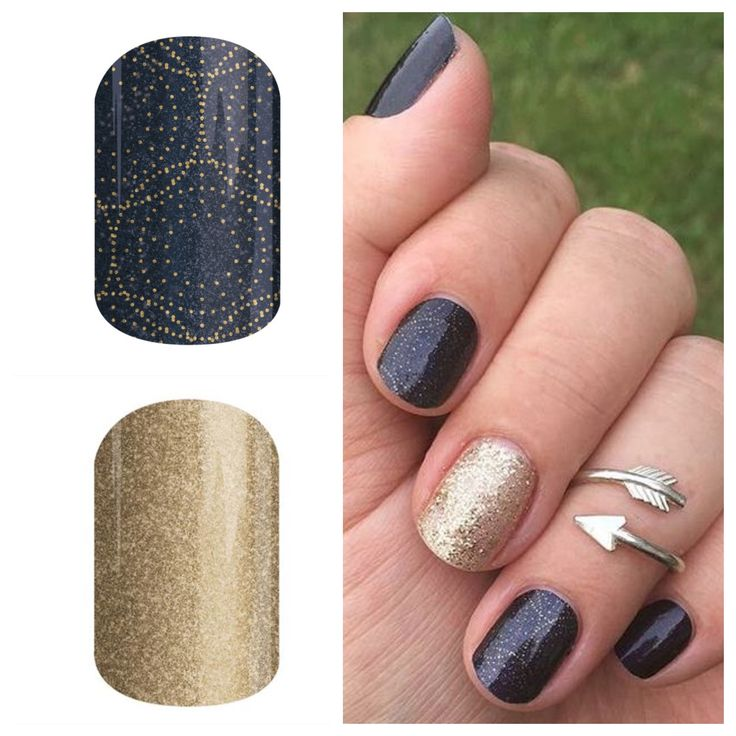 Jamberry Nails. Stellar paired with Gold Sparkle. One of my favourite looks! https://becgrinceri.jamberry.com/us/en