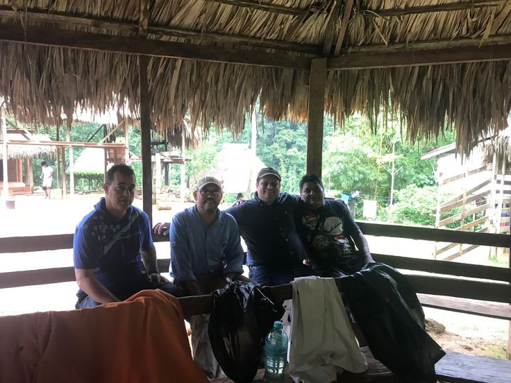 STS team working in Embera Drua, Chagres National Park (From left to right: Mr. Juan De Dios González, Architech Fëlix Durán, Roberto Baca and Mr. Mateo Mecha)