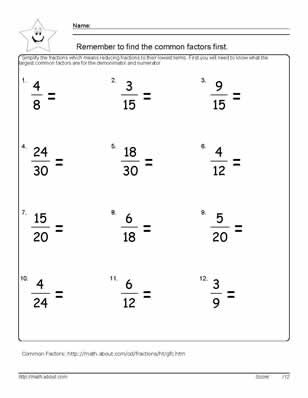 9 Worksheets on Simplifying Fractions for 6th Graders: Reduce the Fractions - Worksheet # 3 (Answers on 2nd Page of PDF)