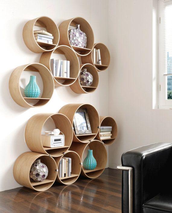Wandregal-Set/schmal- 3x groß, 3x klein mit Wandhalter und Boden, Regalsystem Flexi Tube Nature - ca. 900 €