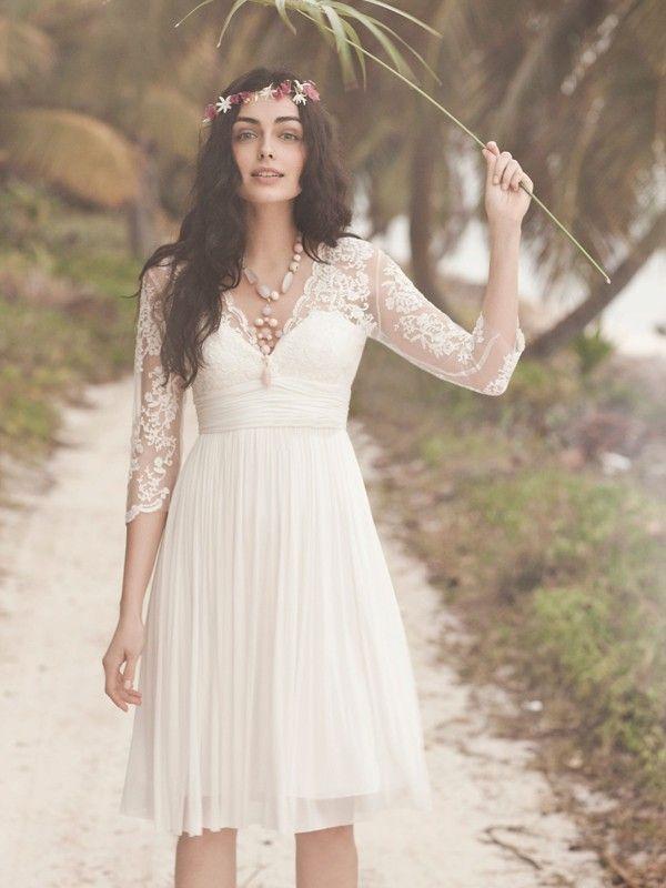 A-Linie/Princess-Stil V-neck Halbe Ärmel Spitze Gefaltet Knielang Chiffon Wedding Kleidenes