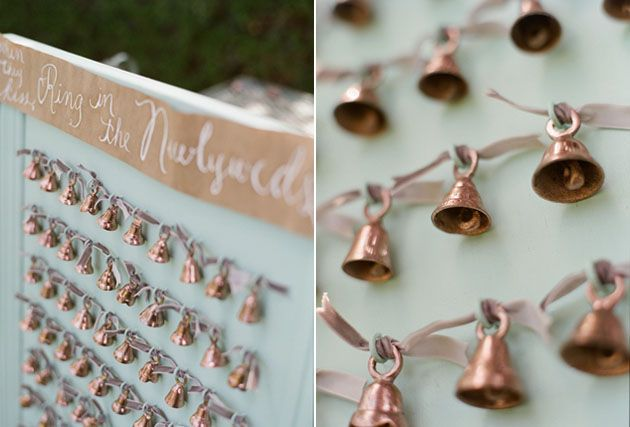 Little brass bells for guests to ring after the kiss.  : )  wedding bells ring on newlyweds