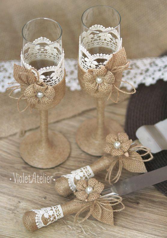 Conjunto de la boda rústica arpillera encaje por VioletAtelier                 …