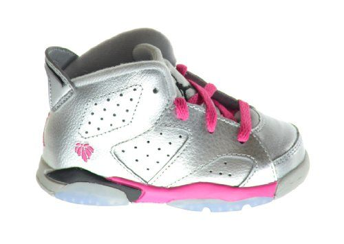 great Jordan 6 Retro (BT) Baby Toddlers Basketball Shoes Metallic  Silver/Vivid Pink
