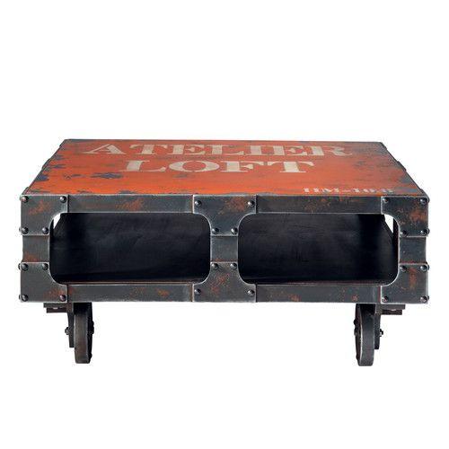 Tavolo basso rosso a rotelle in legno L 90 cm