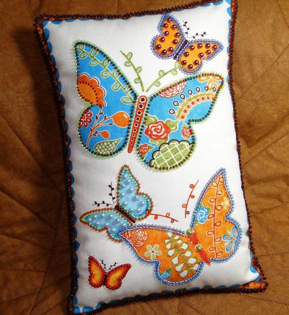 Orange and Blue Garden Butterflies Beaded Pillow