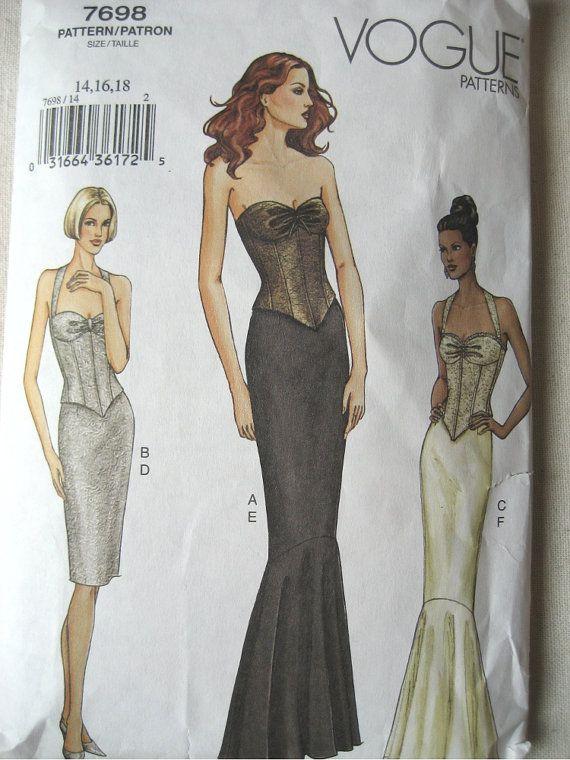 Sexy Evening Gown Corset Dress Pattern Vogue 7698 Size 14 ...