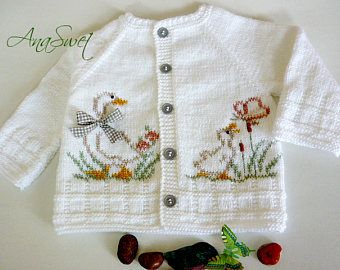 Hand knit baby summer cardigan.White baby cardigan.Size 9-12 months