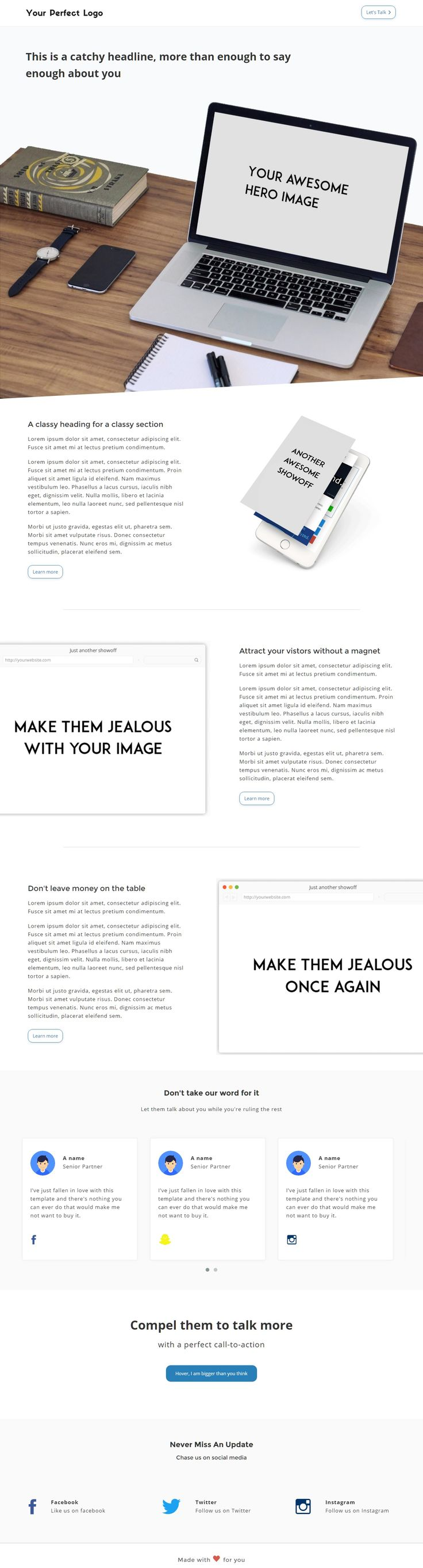 This responsive About Us template fulfills everything you